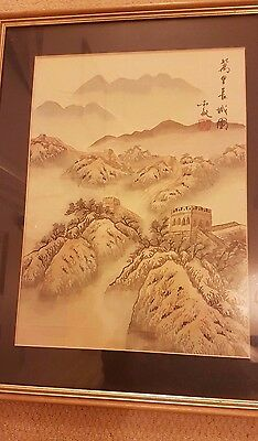 Antique Chinese painting of the Great Wall of China