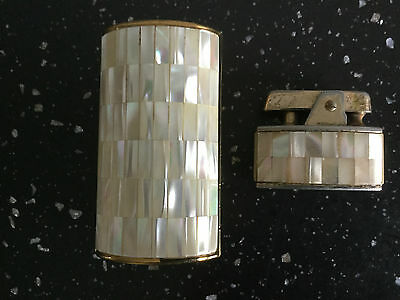 Ronson Mother of Pearl lighter and cigarette box