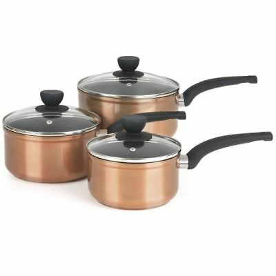 Salter 3 Pc Copper Effect Aluminium Induction Non Stick Saucepan Cooking Pan Set
