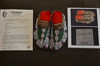 Antique Native American Indian Beaded Moccasins, Lakota Sioux, c.1880