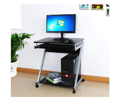 Small Computer Desk Table Workstation PC Keyboard Home Office Black Furniture LP
