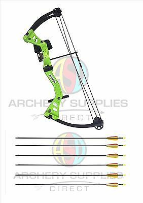 ASD Green Avenger Junior Archery Compound Bow Set With 8 Arrows and Accessories