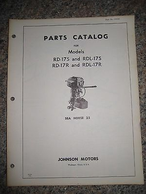 Johnson Outboard Parts Catalog Manual 1962 Sea Horse 25 HP RD-17S&R RDL-17S&R