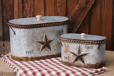 2pc Set Vintage Tins Nested Lidded Canisters Embossed Star Rustic Home Decor