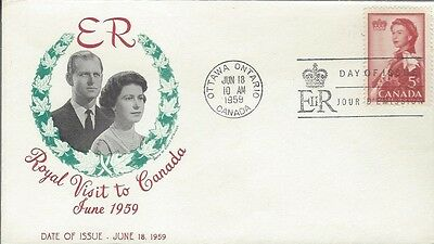 1959 #386 Royal Visit FDC with unusual cachet unaddressed