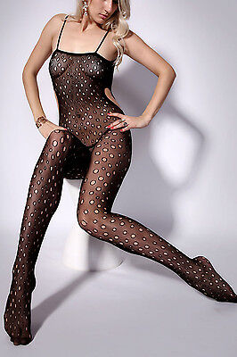 Dotty Hollow Out Sheer Mesh Cami Bodystocking...