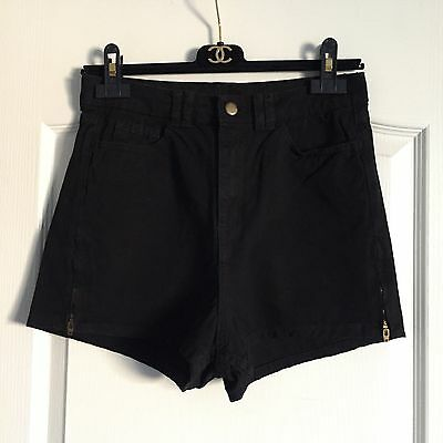 American Apparel Black High Waisted Shorts Size 28/29 5 Pockets Side Zippers