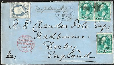 USA 10c LIVERPOOL PACKET COVER to UK 1883
