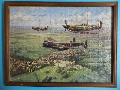WW2 Aeroplane Puzzle Art Image Signed By John Young and Framed