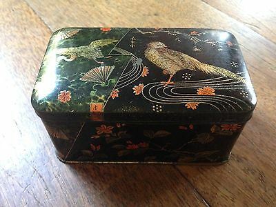 Antique Vintage German Hinged Black Asian Theme Bird Blossom Fan Tin Litho Box