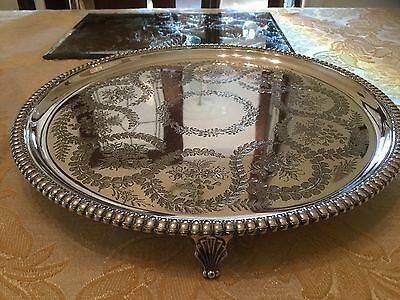 Superb Victorian Thomas Bradbury Silver Plated Chased Footed Drinks Tray ( 1876)