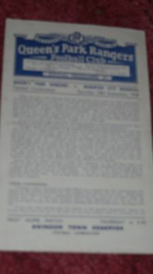 1948  QPR res v NORWICH CITY res 4 PAGE PROGRAMME