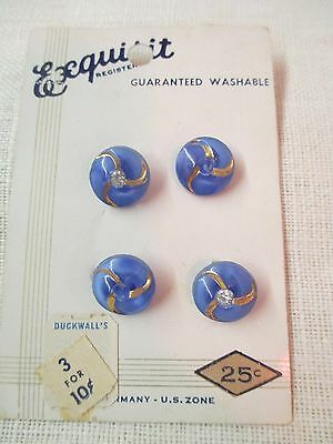 Exquisite Germany US Zone 4 Buttons blue moonglow stone gold gilding orig card