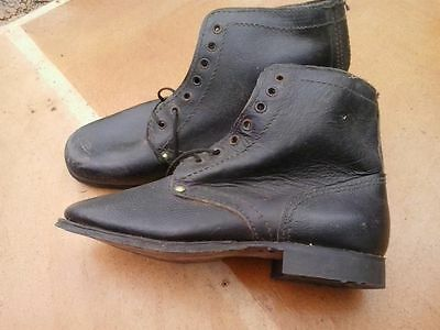 Vintage Soviet Russian Soldier Military Leather Combat Boots Shoes 39
