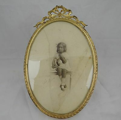 Antique French Gilt Bronze Ribbons Oval Picture Frame -  8.27 x 5.31 ""