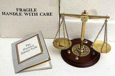 1987 Franklin Mint Precision Balance Scale Weight Solid Brass Instrument coa vtg