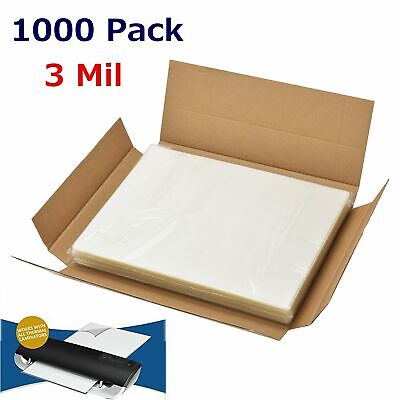 "3 Mil Letter Size Clear Thermal Laminating Pouches 1000 Pack - 9"" x 11.5"" Sheets"