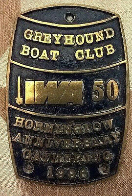 Brass boat plaque Horninglow Anniversary Gathering 1996