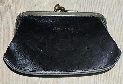 Vintage Women Genuine Calf Leather Kisslock Black Coin Purse Handbag Wallet
