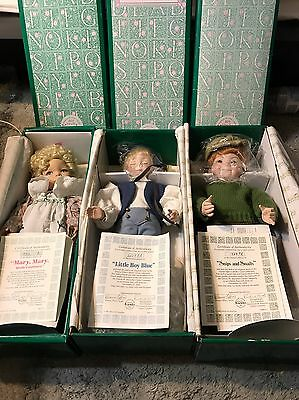 3 Dianna Effner Dolls Mary Contrary Little Boy Blue Snips Snails Knowles Ashton