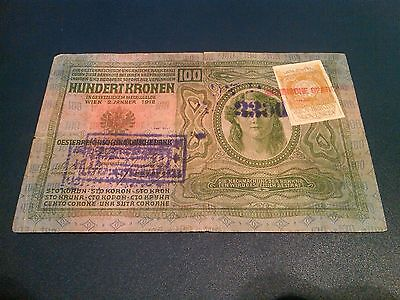 100 Krone/korona  1912----Austria/hungary  Empire---F--With Stamps And Seal---R
