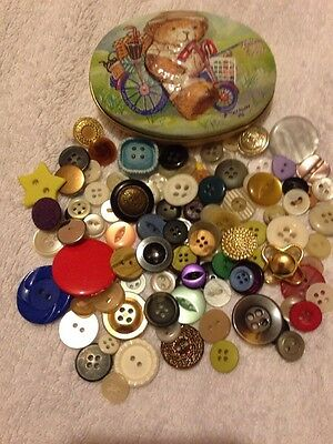 Tin Of Over 100+ Vintage And Modern Buttons