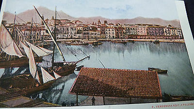 Old Postcard View Of Palermo Sicily Italy Verderosa