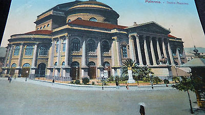 Old Postcard 1913 View Of Palermo Teatro Massimo Sicily Italy  Opera House