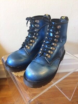 Vintage Metallic Blue Dr. Martens with Silver Tunnel Laces UK 7