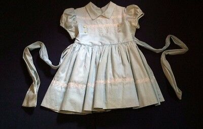 Vtg. Baby Toddler Girl's Dress Light Blue Crinoline Tiny World Montgomery Ward