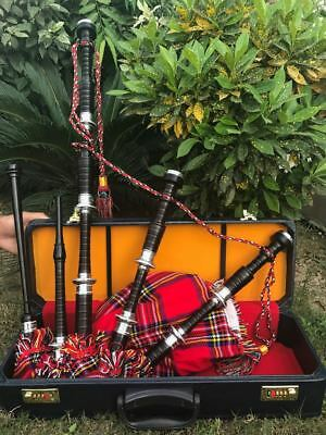 Scottish Great Highland Bagpipe African Black Wood Hand Engraved Complete Set