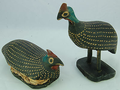 Pair of Very Roughly Carved Wooden Grouse