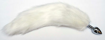 Fluffy Snow White Faux Fur Cat Kitten Tail with Gold, Silver or Silicone Plug
