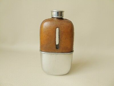 Early 20th c Hip Flask Silver Plate & Leather Jacket With Sight - Hip Flasks
