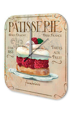Wall Clock Kitchen Decor  Raspberry pie pastry Printed Acryl Acrylglass