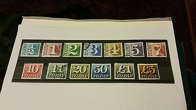 gb stamps postage dues 1970/75 full set of 13 f / used