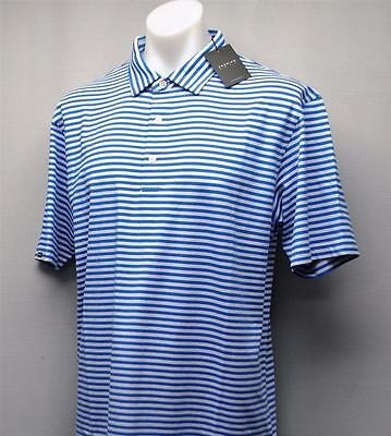 New Mens Dunning Golf striped golf polo shirt Large Sky Blue White