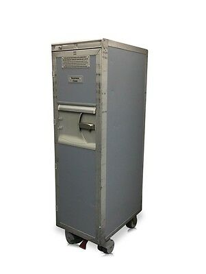 USED GREY AIRLINE AIRCRAFT HALF-SIZE CATERING CART / TROLLEY with Original Foil