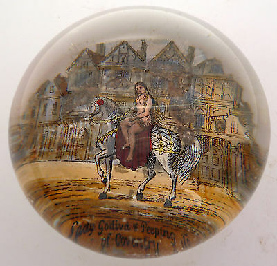 Victorian Glass Paperweight Of Lady Godiva