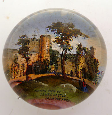 Victorian Glass Paperweight Of Lewes Castle
