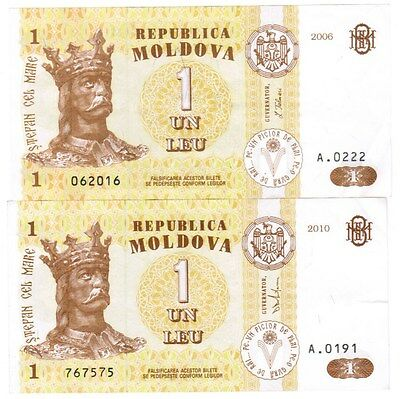 Moldova Collection of 2 Banknotes 2006-2010 All Listed