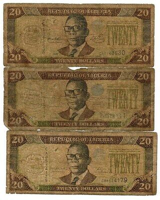 Liberia Collection of 6 Banknotes 1999-2011 All Listed