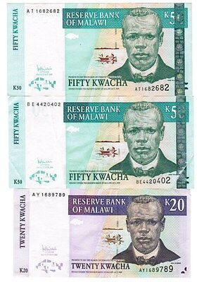 Malawi Collection of 3 Banknotes 2005-2007 All Listed