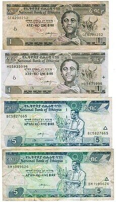 Ethiopia Collection of 4 Banknotes 2006-2013 All Listed