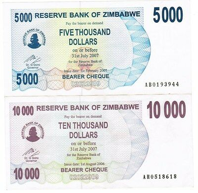 Zimbabwe Collection of 5 Banknotes 2006-2007 All Listed