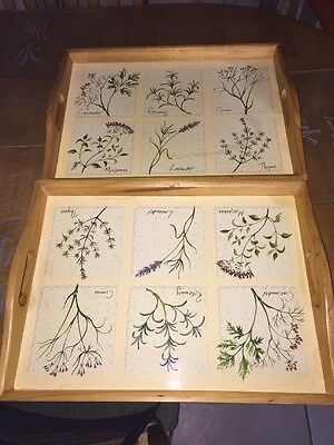 Wooden Serving TV dinner Computer Trays Patterned Hardly Used Herbs