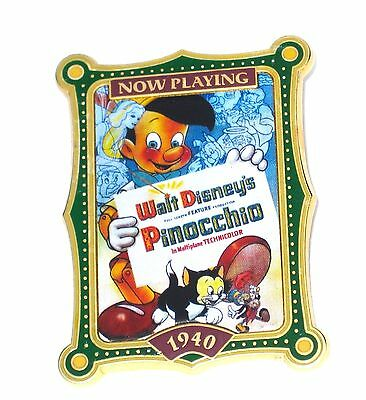 Disney Pin✿Pinocchio Movie Poster Now Playing Figaro Cat Geppetto Jiminy Fairy