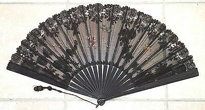 Antique Black Lace & Painted Birds Hand Fan, Ca. 1895, Signed
