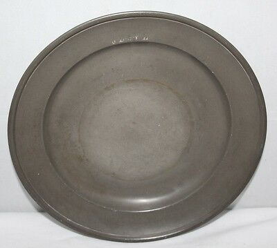"""Antique 18th Century 9"""" Single Reeded Pewter Plate - Touchmarks"""