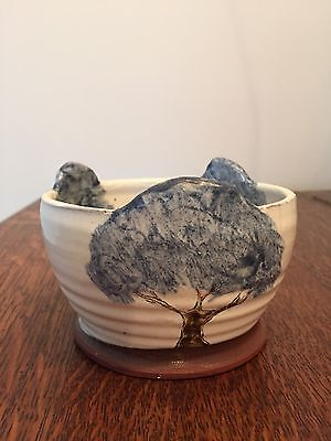 Studio/Art Pottery Hand Thrown Bowl Decorated With Trees.